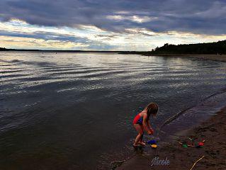 lake girl childhood play clouds freetoedit