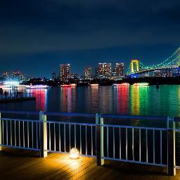 streetphotography freetoedit japan rainbowbridge night