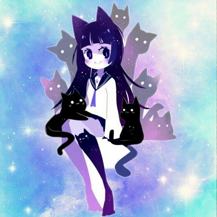 Neko Anime Galaxy Cats Wallpaper Stars Universe Japan