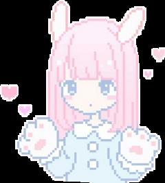 cute pastel pixel anime pink