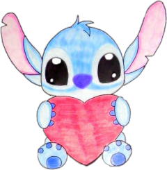 lilo stich cute heart blue