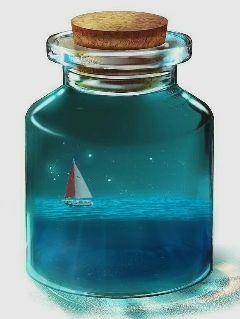 bottle ship sea freetoedit