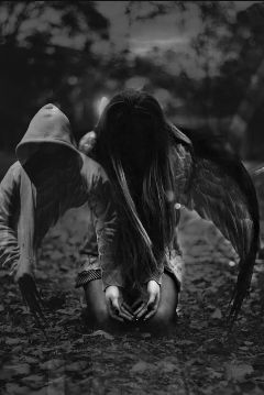 freetoedit blackandwhite doubleexposure angel myedit
