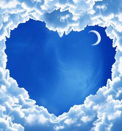 freetoedit night sky heart moon