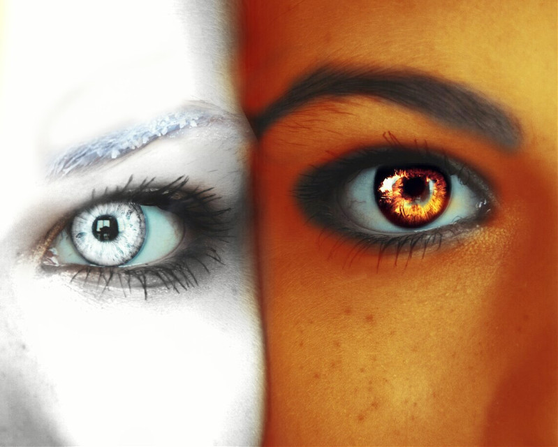 #FreeToEdit #ice #fire #iceandfire #friends #bestfriends #eyes #love  Ice and fire :3