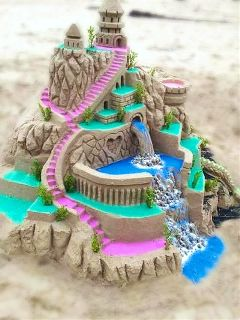 sandcastle blurred blureffect colouredsand sandart freetoedit