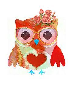 owl cutebirds red glasses bird