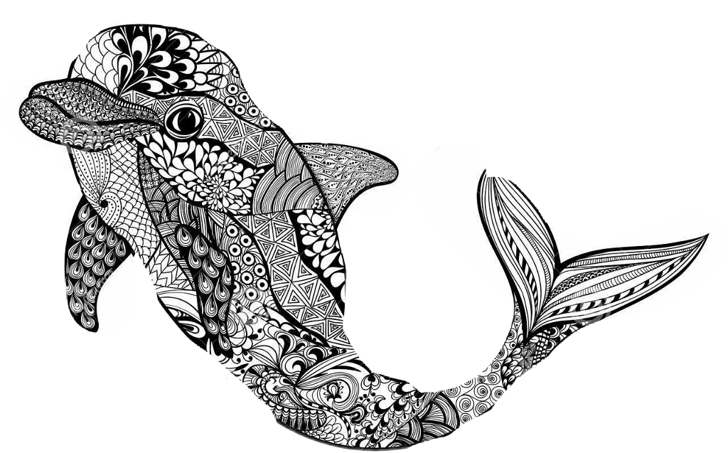 ausmalbilder mandala delfin  tippsvorlage