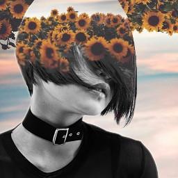 sunflowers sky dubleexposure girl hais