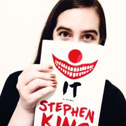dpcbookselfie book clown smile horror