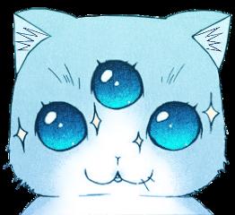 alien cat ftestickers blue galaxy