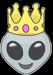 alien emoji crown king queen