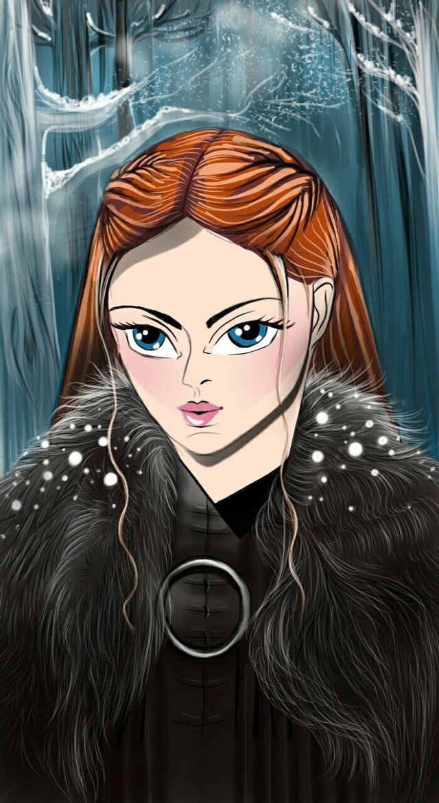 """#drawing #myoriginaldrawing #noreference #mydrawing #gameofthrones #sansastark #winteriscoming  #anime my first attempt at anime style drawing ( I still think i'm too poor at it ) Inspired by the weekly drawing contest """"anime"""" although I'm not participating in it. I've lost my patience with PA drawing contests, fellow artists try to vote for my paintings and never find it. So best is to avoid it and  spare myself some agony...these contests are great for stirring up the imagination but what I see happening especially in drawing contests are artists draw over someone  else's paintings or someone else's photograph without crediting the photographer  or even mentioning that it's referenced...there's absolutely no crime in mentioning that the work is referenced, most if not all artists learn that way by means of a reference, but atleast mention it!!!! drawing over someone else's work doesn't show true creativity...just my thoughts. Anyways I thought of trying something outside my comfort zone..well the attempt was to draw Sansa Stark anime style but she turned out pretty young in this painting..got to practice more I guess to get the age right! Tips always welcome, would help me learn to draw better...enjoy the weekend!"""