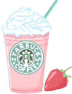 kawaii starbucks strawberry freetoedit
