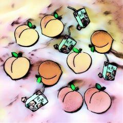 freetoedit peachy peaches juice cartoon