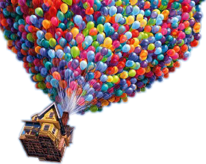 baloons colorful home cartoon fly