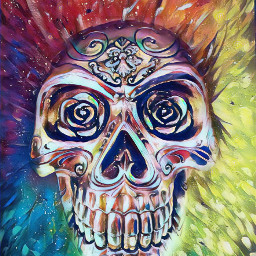 freetoedit colorful skulls paiting popart