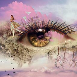 pinkcloudstickerremix eye freetoedit