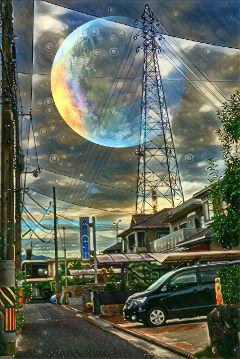 moonlightmagiceffect urban moon streetview freetoedit