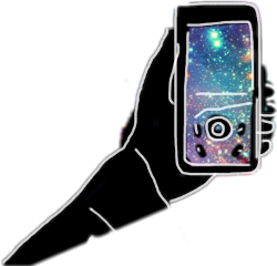 sketched hand phone galaxy freetoedit