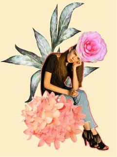 thinking rose girl fashion pink