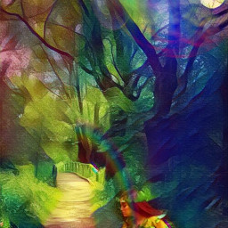 illustrated nature forest trees moonlight freetoedit