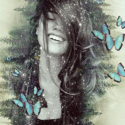 butterflies forest trees stars sparkle freetoedit