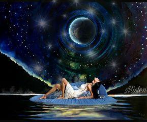 alone moon stars sky sea freetoedit