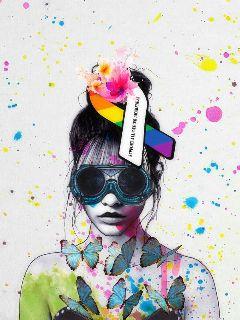cancersymbolstickerremix paint girl colour myedit freetoedit