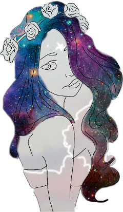 girl sketched galaxy hair freetoedit
