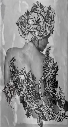 lady tattoo back head layers freetoedit