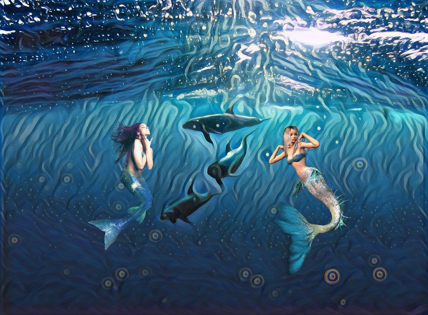 #freetoedit #mermaids #dolphins #water #midnightmagiceffect