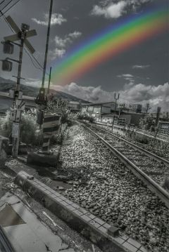 blackandwhite urban railwaytrack freetoedit