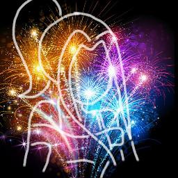 freetoedit girl sketched anime fireworks