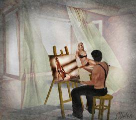 artist painting modeling