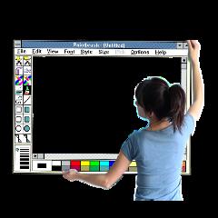ftestickers woman screen windows95 paint freetoedit