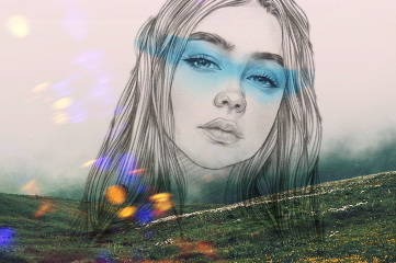 blue colorsplash girl gal art freetoedit