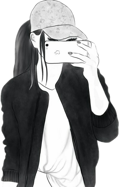 Girl Drawing Draw Selfie Mirror Blackandwhite
