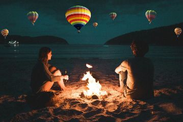 couple fire baloons parashutes sky freetoedit