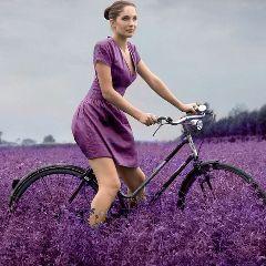 freetoedit woman bicicle grass purple