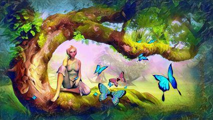 freetoedit colorbrightmagiceffect woman landscape nature