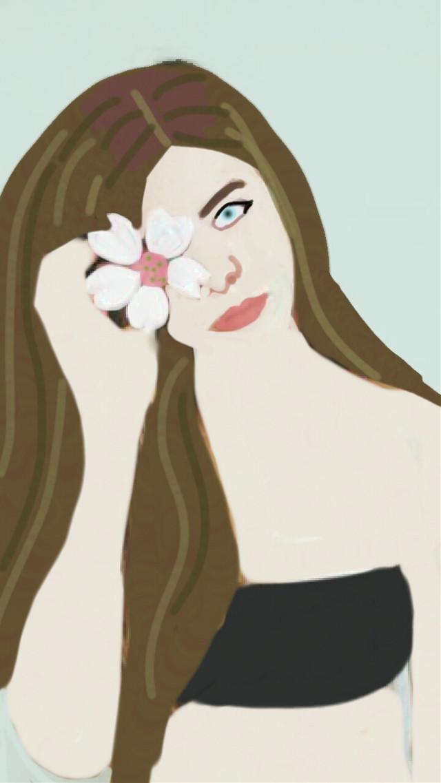 #drawing #mydraw #flower #girl