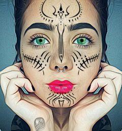 freetoedit greeneyes tattoo facepaint