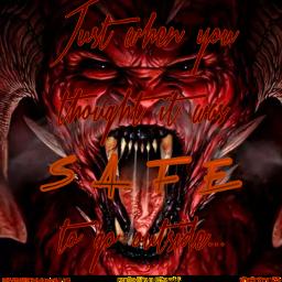 demon monster scary frightening sinister scaredtodeath freetoedit