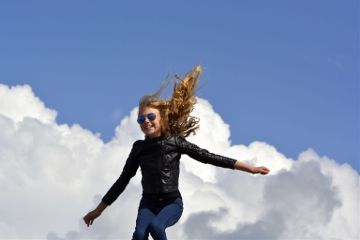 jumping jumpingpeople people girl clouds freetoedit