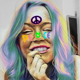 freetoedit peace colorful peacesign rainbowhair