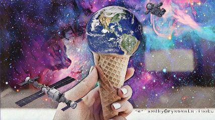 freetoedit outerspace astronaut satellite icecream