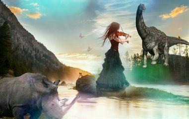 rhinoday nature landscape dinosaurs woman freetoedit