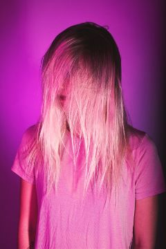 freetoedit girl purple hair blond