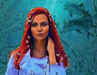 aquarium woman redhead freetoedit